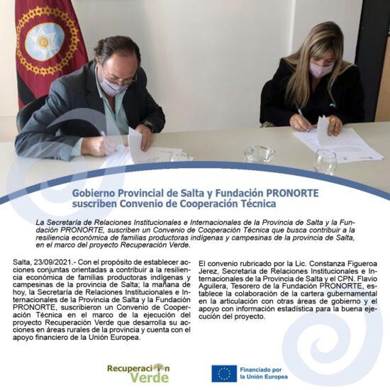 Gobierno Provincial de Salta y Fundación PRONORTE suscriben Convenio de Cooperación Técnica